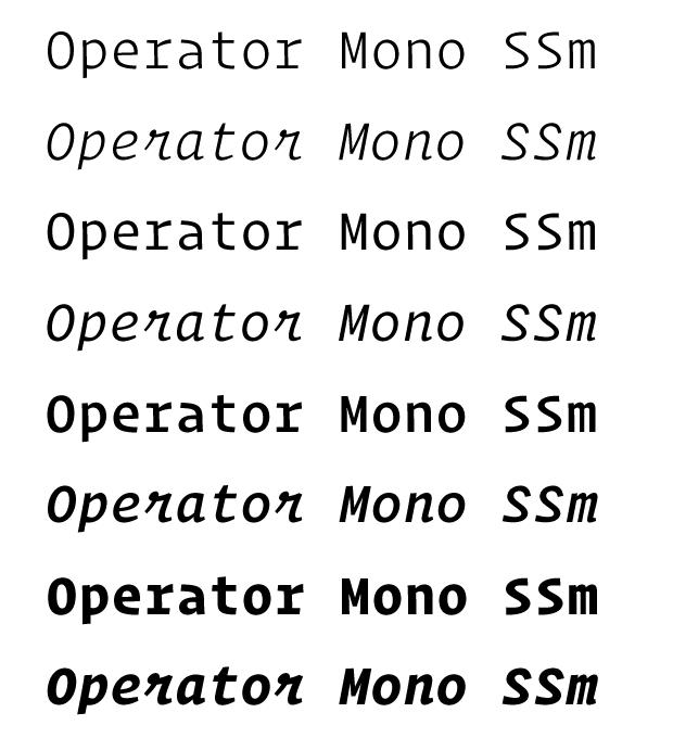 OperatorMonoSSm系列字体