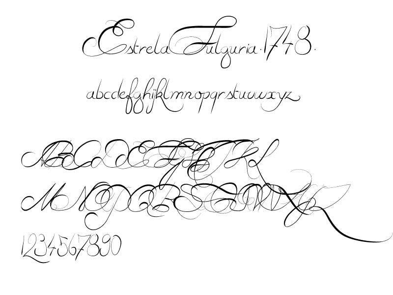 英文手写花体字体Estrela Fulguria1748