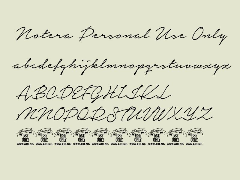 一款手写英文字体Notera Personal Use Only